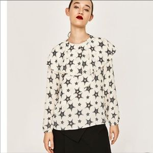 Zara star printed Long sleeved ruffle blouse